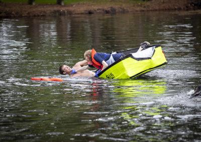 Students participate in the annual cardboard regatta in 2019.