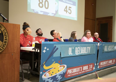 Participants laugh the semi- finalists in the 2020 President's Bowl battle it out to see who claims a spot in the finals next week.