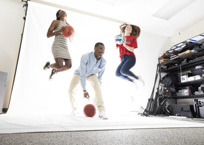 Francis Marion student athletes Briana Burgins, Brandon PArker and Gerorgia Garrison pose for portraits in the studion on April 19, 2019.
